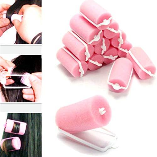 Haarkurler - 12pcs Magic Sponge Foam Cushion Hair Styling Rollers Curlers Twist Tool Salon Pink Hair Curlers Rollers Twist Tools