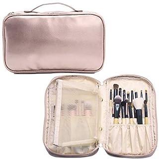 MLMSY Make-up Kleine Kosmetiktasche für Frauen Make-up Pinsel Organizer Wasserdichte Tragbare 2 Schicht Make-Up Tasche Halter Professionelle PU Ledertasche mit Tragegriff für Reise (A: Bare pink)