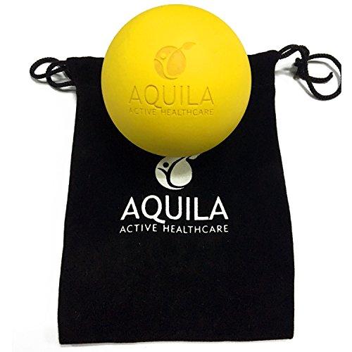 Aquila Active Massagebälle–Reflexologie-Geräte, myofaszialer Release, Yoga, Körpertherapie–tolles Selbstmassage-Werkzeug, inkl. Anleitungsvideos und Übungen (in englischer Sprache), löst verspannte Muskeln und erhöht muskulöser Dichtigkeit–gegen Schmerzen in Fuß Bein Hüfte Rücken Nacken Schulter Arm, gelb, 64mm
