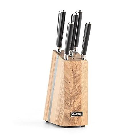 Klarstein Katana 6 Set de couteaux 5 pièces acier inox 3Cr13 & bloc bois massif