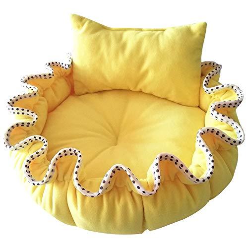 Round Pet Bed Basket Fleece-Stoff und hochwertige Baumwollunterlage für kleine und mittlere Haustiere (Farbe : Gelb, größe : L(70 * 70cm)) -