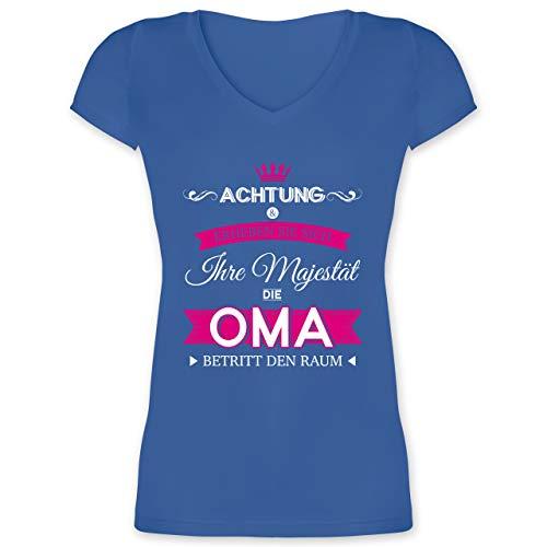Oma - Ihre Majestät die Oma - M - Blau - XO1525 - Damen T-Shirt mit V-Ausschnitt