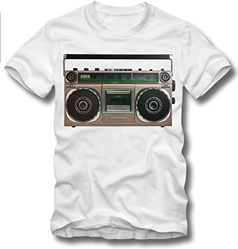 URBAN KULT T SHIRT GHETTO BLASTER BOOM BOX RETRO VINTAGE 80er 80s OLDSCHOOL VHS, XL (Vintage T-shirt 80s)