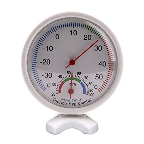 HuhuswwBin Hygrometer, rund, analog, Temperatur Luftfeuchtigkeitsmesser/Hygrometer, Hakenloch, Abnehmbarer Boden Multi