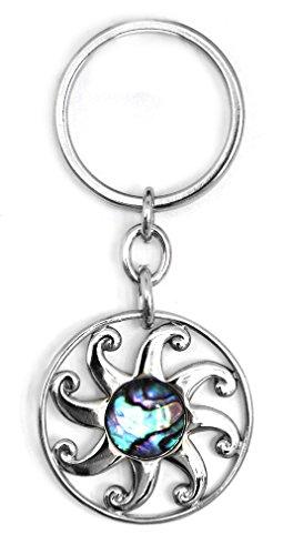 Schlüsselanhänger Sonne 3,5 cm silber, Paua Muschel Abalone Perlmutt blau grün rosa, Glücksbringer Talisman Schlüssel