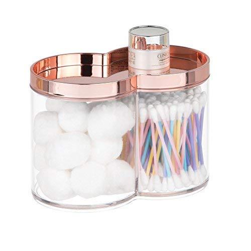 mDesign Juego de 2 cajas organizadoras de plástico – Caja de almacenaje, ideal como dispensador de discos de algodón o bastoncillos – Cajas apilables con práctica tapa – oro rosa/transparente