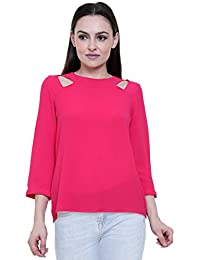 Gift For Girlfriend Women Girls Top Beautiful Pink Top Plain Top Stylish Shoulder Cut Pattern Unique Collections...