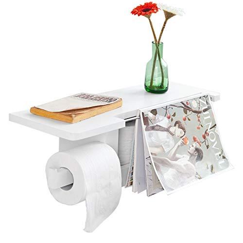 SoBuy FRG175-W Toilettenpapierhalter mit Ablage zur Wandmontage Rollenhalter für Badezimmer multifunktional Badregal weiß BHT ca: 50x18x17cm