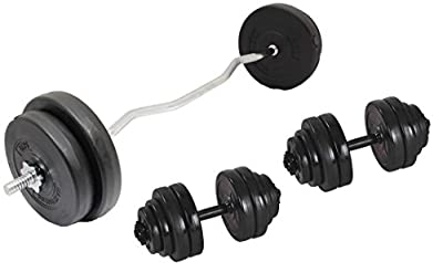 "EZ Curl Bar Weight Set 33kg Weight Lifting Gym Quality 1 Piece 48"" Curling Bar Standard 1"" With Spinlock Collars & Vinyl Weight Plates by IQI fitness"