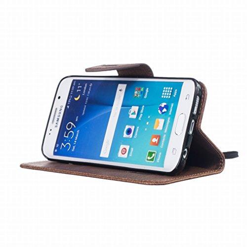 LEMORRY Samsung Galaxy S6 edge / G925F Custodia Pelle Cuoio Flip Portafoglio Borsa Sottile Fit Bumper Protettivo Magnetico Chiusura Standing Card Slot Morbido Silicone TPU Case Cover Custodia per Gala Marrone