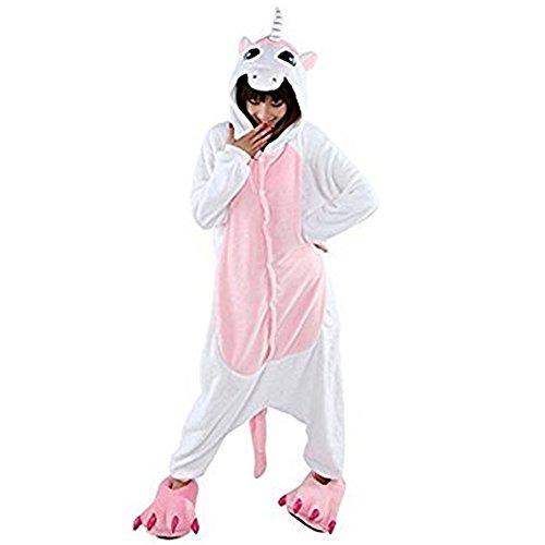 Missley Einhorn Pyjamas Kostüm Overall Tier Nachtwäsche Erwachsene Unisex Cosplay (S, Pink-unicorn)