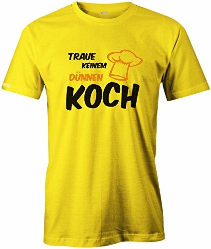 Traue keinem dünnen Koch - Essen - Herren T-Shirt Gelb