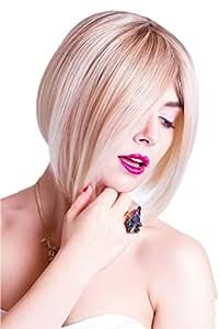 Prettyland C533 - Perruque blanche blonde - carré plongeant - BOB perruque - 3 couleurs