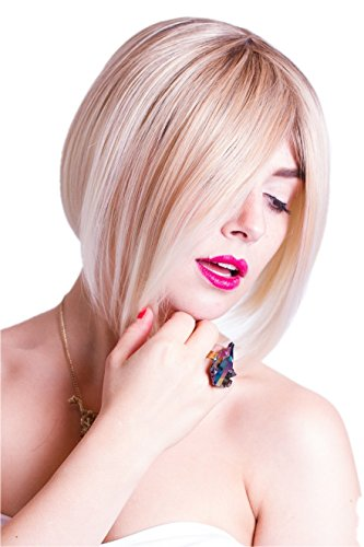 Prettyland C533 - Ombré Haar Weißblond Kurz Bob Trendy Frisur Perücke mit 3 -farb-coloration (Perücke Frisuren)