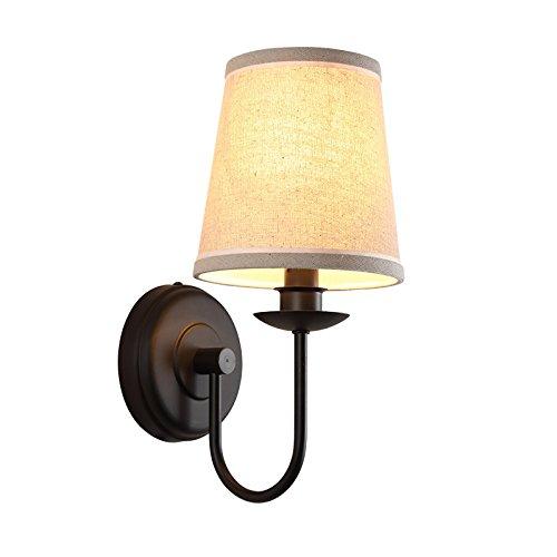 Schlafzimmer-Nachttischlampen-Wandlampe, die einfache europäische amerikanische moderne unbedeutende warme Tuch-Wand-Lampe liest ()