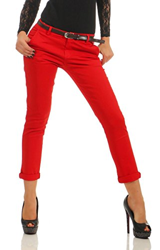 Rote Skinny Gürtel (5564 Fashion4Young Damen Hose Slimline Damenhose Treggings Röhrenhose Skinny Pant m. Gürtel (rot, XL=42))