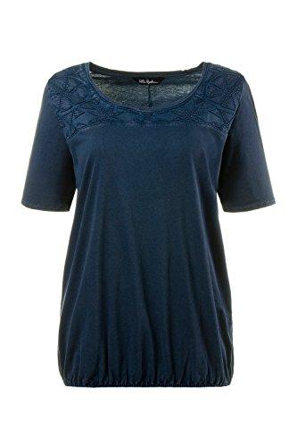 Ulla Popken Damen große Größen | Shirt mit Blütenstickerei | Rundhalsausschnitt | Halbarm | bis Größe 58+ | 709013 Tiefblau