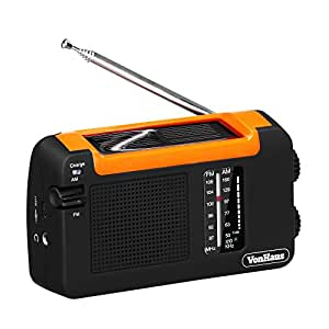 VonHaus Wind Up Solar Radio with Rechargeable Battery & USB Charger Port AM/FM Radio & Micro USB Cable
