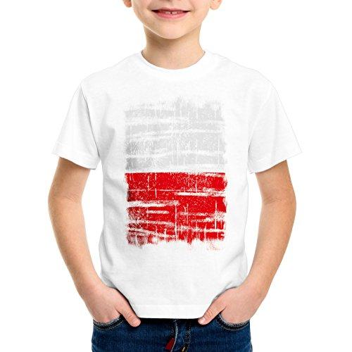 Polen Vintage Flagge Kinder T-Shirt Poland EM WM Olympia, Farbe:Weiß;Größe:116 - Meisterschaft Vintage-t-shirt