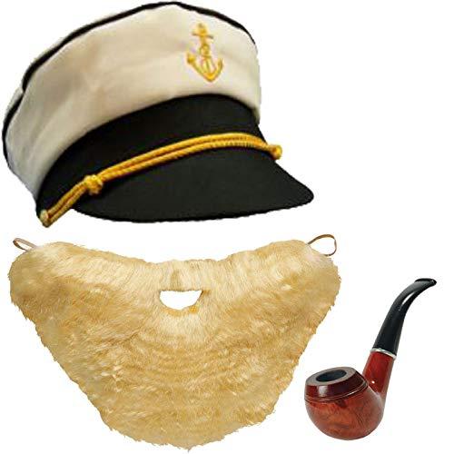 Labreeze Herren Kapitän Hut Holz Pfeife Blond Bart & Schnurrbart-Kostüm