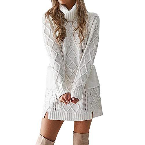 Toasye Frauen Winter Langarm Cowl Neck gestricktes Minikleid, Damen Cusual Solid Color Pullover