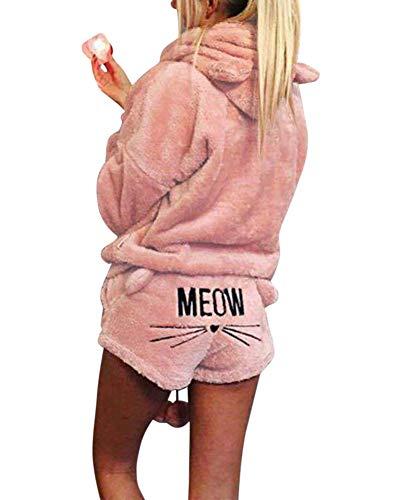 ZiXing Damen Warmer Winter Gesetzte Zweiteilige Nette Katzen Pyjamas Hoodie Nachtwäsche mit Kapuze Hosenanzug Schlafanzug Jumpsuit Hell-Pink S