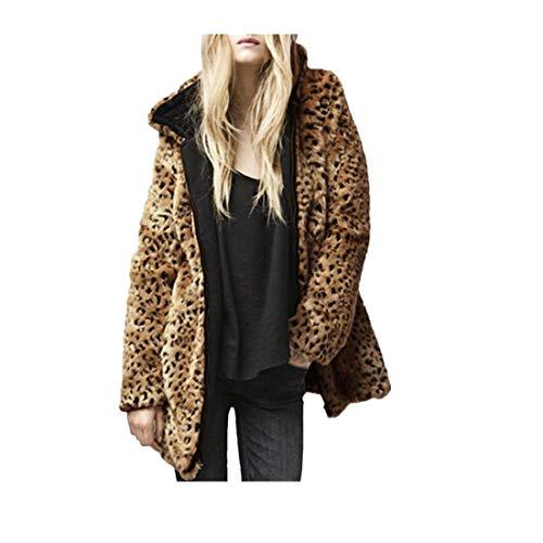 (OverDose Damen Wärmemantel Sweatjacke Womans Kapuzenpelzkragen Mantel Kunstpelz Zip Clubbing Party Coole Tasche Outwear Lässige Strickjacke(Braun,EU-32/CN-S))
