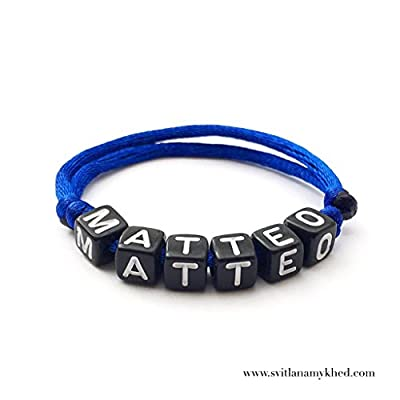 Bracelet MATTEO avec prénom, message, logo, surnom (réversible) pour adulte, enfant. Création sur mesure! Bijoux avec lettres d'alphabet; Handmade