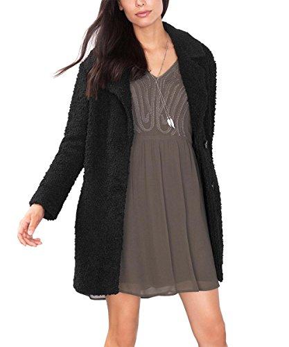 ESPRIT Damen Mantel 096EE1G021, Schwarz (Black 001), 38 (Herstellergröße: 38)