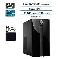 2019 Newest HP Premium Desktop Computer, Intel 4-Core i7-7700T, 2.9GHz, Up to 3.8GHz, 16GB RAM, 1TB HDD, 512GB SSD, DVD Drive, WiFi, Bluetooth, HDMI, VGA, RJ-45, Wind 10 Home w/Hesvap Accessories