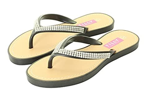 New Womans Ladies Diamante Mules Flat Summer Sandal Flip Flops Beach Jelly Shoes