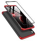 DECHYI compatibles para Funda Huawei P Smart+ 2019,Cubierta + Cristal Templado Matte Ultra Slim PC Hard-Protección del Cuerpo Scratchproof Cubierta-Negro Rojo
