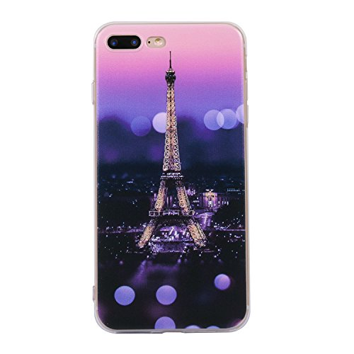 iphone 7 Plus Handyhülle,iphone 7 Plus Silikon Hülle,Cozy Hut 3D Handyhülle Muster Case Cover Für iphone 7 Plus Liquid Crystal Ultra Dünn Crystal Clear Transparent Handyhülle Soft Cover Premium Anti-S Sonnenuntergangturm