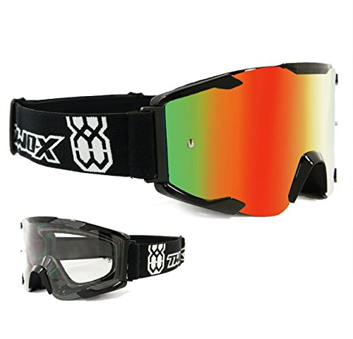 TWO-X Bomb Crossbrille schwarz Glas verspiegelt iridium MX Brille Motocross Enduro Spiegelglas Motorradbrille Anti Scratch MX Schutzbrille