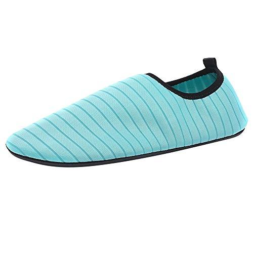 feiXIANG Schuhe Unisex Aquaschuhe Herren Damen Laufschuhe Schnelltrocknend Strandschuhe Wasserschuhe Badeschuhe (Hellblau,37-38) - Herren-stretch-walker