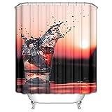 AieniD Duschvorhang Waschbar Antischimmel Sonnenuntergang Rosa Wasserdicht Duschvorhang Size:180X180CM