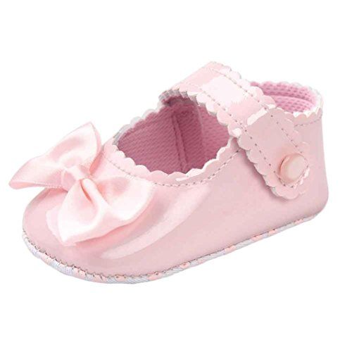 Auxma Zapatos de bebé, Niña Bowknot Zapatos de cuero suave (12cm(6 ~