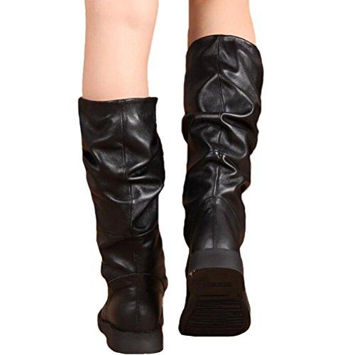 MatchLife Femme Décontractée Classique Longue Cuir Bottes Style2-Noir
