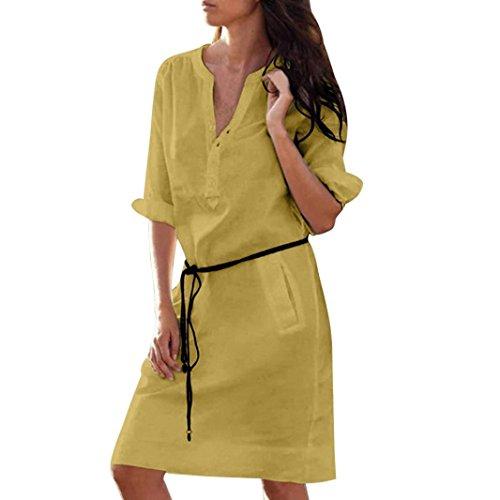 VEMOW Sommer Herbst Mid-Season Elegante Damen Frauen Maxi Half Sleeve Tasten mit V-Ausschnitt Kleid Casual Daily Party Strand lose dünne Tasche Shirt Kleider(Türkis, EU-46/CN-XL) -