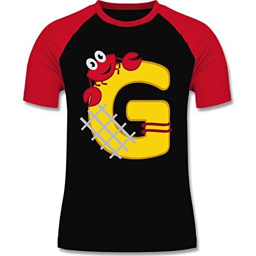 Anfangsbuchstaben - G Schifffahrt - zweifarbiges Baseballshirt für Männer Schwarz/Rot