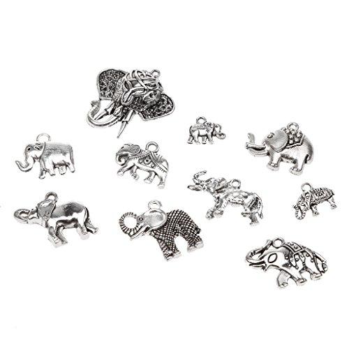 chiwanji Paquete De 10 Colgantes De Encantos De Elefantes Vintage para Bricolaje...