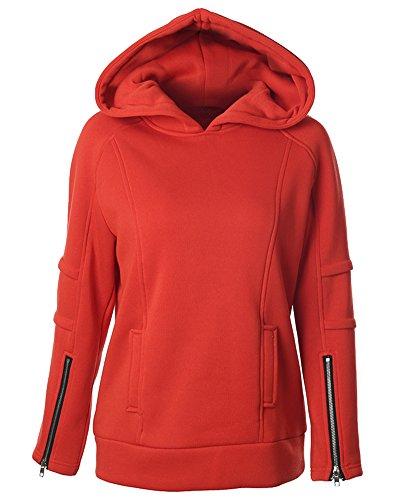Donna Manica Lunga Pullover con Cappuccio Felpa Shirt Casual con Cerniera Polsino Rosso Arancio