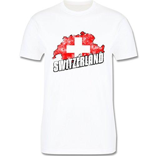 EM 2016 - Frankreich - Switzerland Umriss Vintage - Herren Premium T-Shirt Weiß