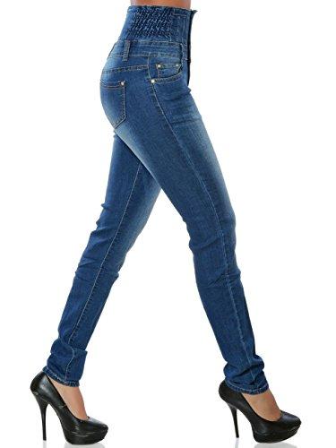 Damen High-Waist Jeans Skinny Hose Hoher Bund Röhre No 15839 Blau