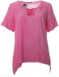 No Secret Tunika-Shirt Damen Rosa Sommer Kurzarm Große Größen T-Shirt Bluse bb5a49cd80