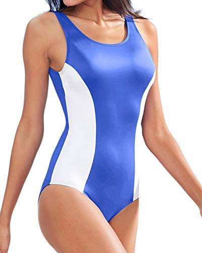 iler Figurformender Badeanzug One Piece Große Größen Bademode Blau+Weiß 885113 2XL=EU46 ()