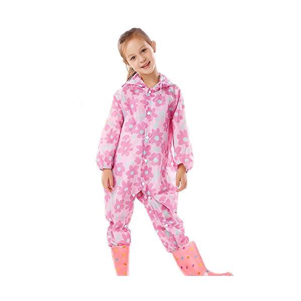 YBWEN Impermeable de los niños Violeta patrón de Flor niño bebé luz Transpirable Impermeable al Aire Libre siamés niño… 1