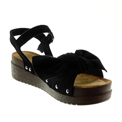 Angkorly Scarpe Moda Sandali Mules Zeppe con Cinturino Alla Caviglia Donna Nodo Borchiati Legno Tacco Zeppa Piattaforma 4.5 cm Nero