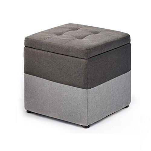 Repose-pieds Tabouret Coffre de rangement Pouf Cube Pouf carré avec couvercle et couvercle amovible en lin Tabouret de maquillage pour le salon | Couloir Max, 150KG 40x40x40cm en Gris