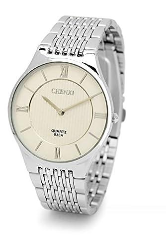 Magnifiquement simple roman mince 2 broches et montres uniques un couple d'hommes et de femmes montre de mode de montres Hommes Blanc